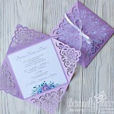 """NEW! Приглашение """"Резной конверт фиолет"""""""