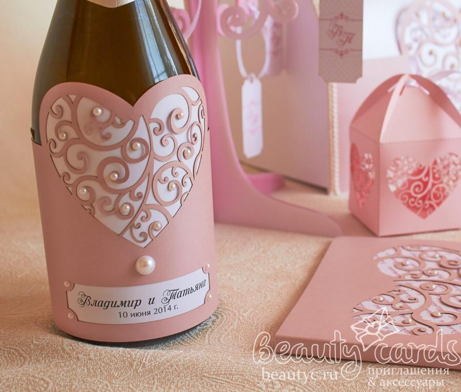 """Украшение на шампанское """"Резное сердце"""""""