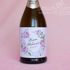 """Украшение на шампанское """"Розовые бутоны"""""""