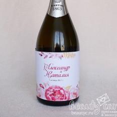 """Украшение на шампанское """"Акварельные цветы"""""""