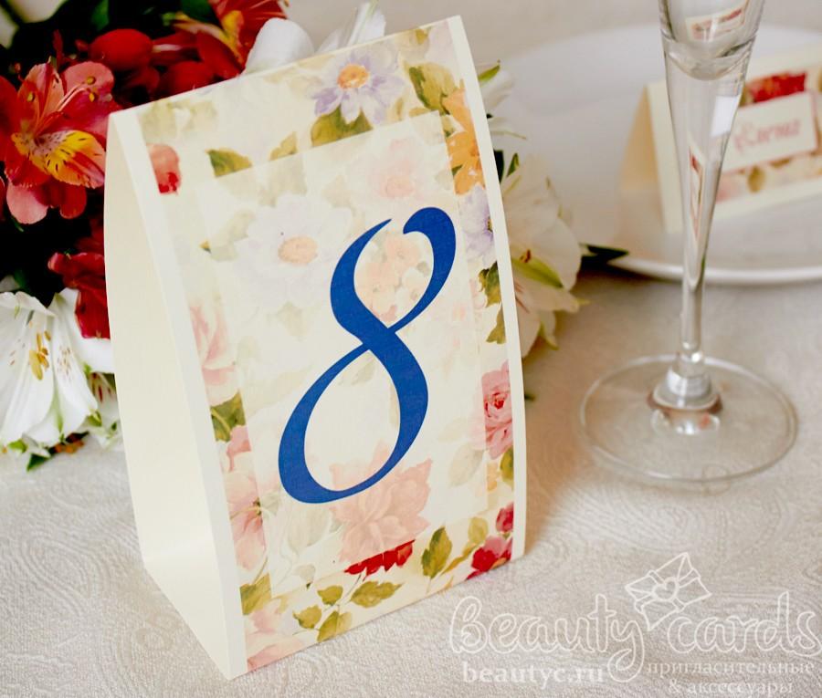 """Номер стола """"Винтажные цветы"""""""
