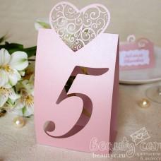 """Номер стола """"Сердце роуз"""""""