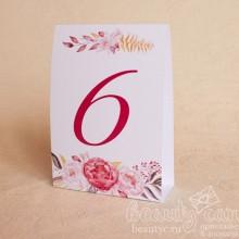 """Номер стола """"Акварельные цветы"""""""